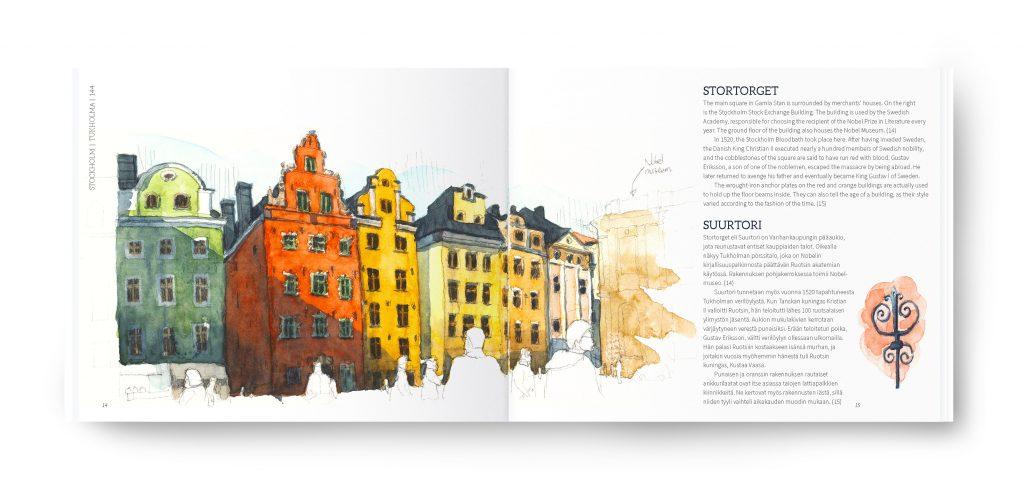 Kaupunkipiirtäjän opas / An Urban Sketcher's Guide. Helsinki, Stockholm, Tallinn, Turku & Porvoo, 2017